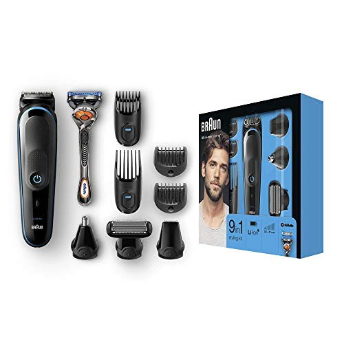 Braun 9-in-1 All-in-One Trimmer MGK5080 Beard Trimmer and Hair Clipper, Body...