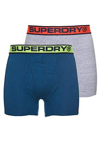 Superdry Herren Sport Double Boxer Boxershorts, Mehrfarbig (Milton Blue Marl/Ketion Blue Marl V6U), X-Large