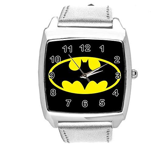 Taport® Quarzuhr Silber Lederband Quadrat für Batman Fans