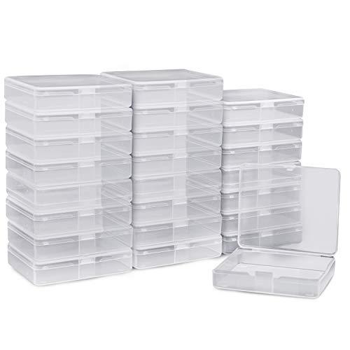 BELLE VOUS Plastikbox mit Deckel (24 Packung) - (6,3x7,2x1,7cm) Klein Transparent Kunststoff Perlen Aufbewahrungs Behälter für Pillen, Kräuter, Kleine Perlen, Handwerk, Schmuckzubehö