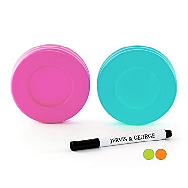 Mason Jar Lids - Compatible with Regular Mouth Size Ball Jars - Reusable and Leak Proof Plastic Lids are BPA Free - Includes Pen for Marking - Pink & Teal - Pack of 2