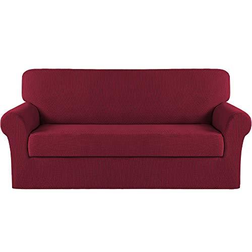 Copridivano elasticizzato turchese per divano con 4 cuscini, 2 pezzi, extra large elasticizzato per divano (divano oversize, vino)