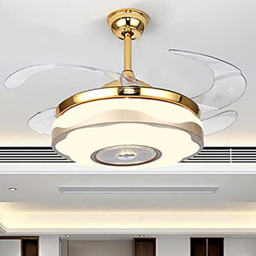 42 Pulgadas Retráctil Moderno Oro de Lujo Ventiladores de Techo Control Remoto con Luz de Atenuación de 3 Colores Candelabro 3 Marchas de Velocidad Del Viento Cuchillas Invisibles (Color : C)