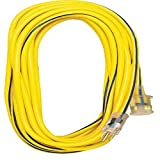 Voltec 05-00364 12/3 SJTW Outdoor Extension Cord with Lighted End, 25-Foot, Yellow with Blue Stripe