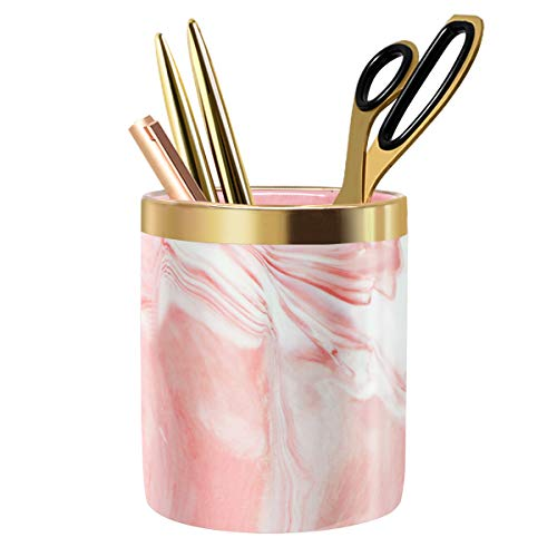 WAVEYU Pen Holder, Stand for Desk Marble Pattern Pencil Cup for Kids Durable Ceramic Desk Organizer Makeup Brush Holder Ideal Gift for Daily Use in Office, Classroom, Home, Pink
