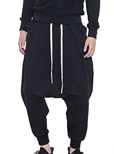 Panegy Men's Hip Hop Pants Casual Pants Elastic Waist Sport Sweat Pants Baggy Harem Pants Drawstring Black XL