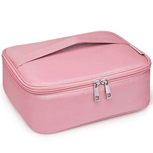 Travel Makeup Bag Large Cosmetic Bag Make up Case Organizer for Women and Girls (Pink)