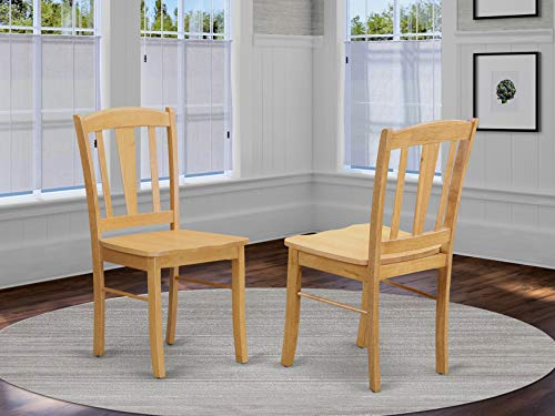 East West Furniture Dublin Kitchen Chairs - Wooden Seat and Oak Hardwood Frame Dining Chair Set of 2