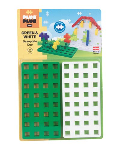 Plus-Plus 9603287 Geniales Konstruktionsspielzeug, Big Steckplatte, grün/weiß, 2 Teile