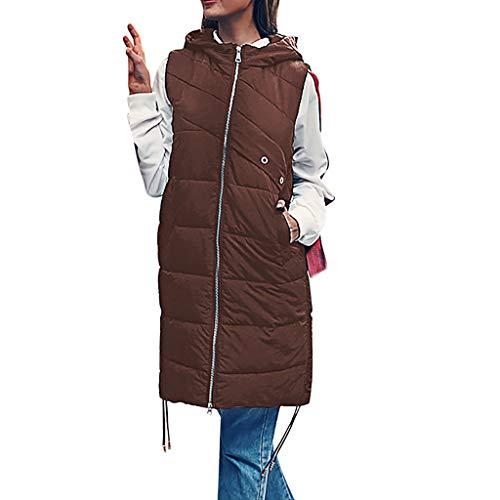 KPILP Damen Lang Ärmellos Daunenweste mit Kapuze Leicht Freizeit Steppweste Elegant Winter Outwear Outdoor Vest Einfarbig Parka Wintermantel Westen