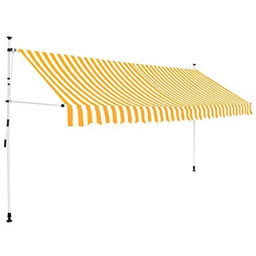 vidaXL Toldo Manual Retráctil 350cm Amarillo Blanco Parasol Sombrilla Cubierta