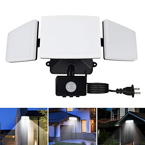 DLLT 35W Plug in Motion Sensor Light Outdoor, LED MotionSecurity Lights with 3 Adjustable Heads, IP65 Waterproof Exterior Detected Flood Light for Garage, Yard, Porch, Patio, 6500k, (Black)