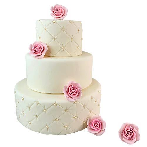 Rosas de azúcar, lote de 5 flores de 40 mm para decoración de tartas, fiestas, cumpleaños, para niñas, princesas, niños, bautizos, bodas, tartas y pasta de azúcar