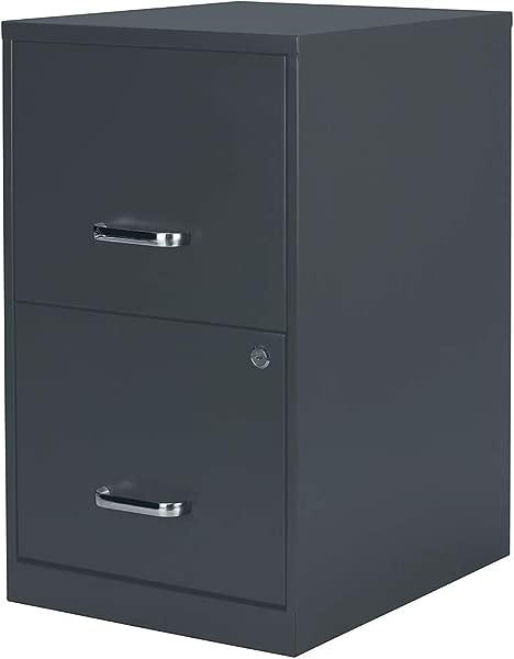 订书钉 2806760 2 个抽屉垂直文件柜锁定字母木炭 18 英寸 D