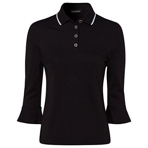 Golfino Damen Polo mit Volantärmeln Größe 42 (L) Schwarz