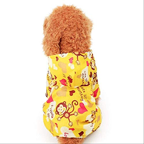 Waterdichte hond Coat Raincoat Cute Hond Regenjas Pet Regenjas for Honden Katten Monkey Printing Ademende Puppy Rain Hoody Suit Waterproof hondenkleding M (14) Roze (Color : Yellow, Size : M (14))