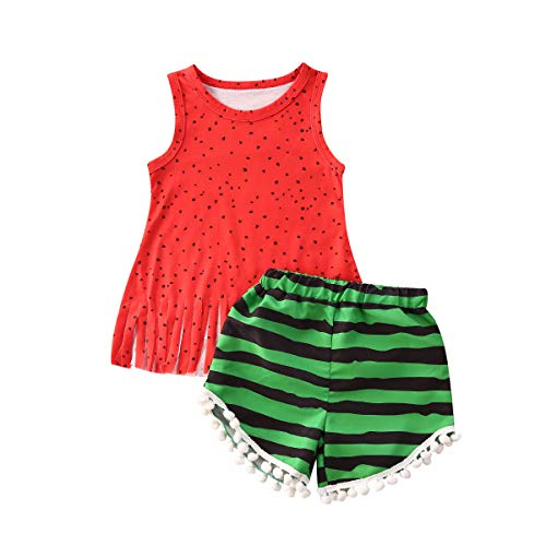 Toddler Kid Baby Girls Tassels Sleeveless T-Shirt Top Striped Pompom Shorts Pants 2Pcs Summer Clothes Outfits (Red Tassel Top+Striped Pompom Shorts, 3-4T)