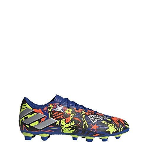 adidas Men's Nemeziz Messi 19.4 Firm Ground Soccer Shoe, Royal Blue/Silver/Yellow, 7.5