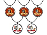 Set of 10 Tom & Jerry Cartoon Bottle Cap Ball Chain Necklaces Party Favors Birthday Favors Gifts Door Prizes