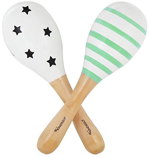 Kindsgut Rasseln aus Holz, 2er Set Musik Instrument für Babys und Klein-Kinder, ideal für unterwegs, dezente Farben und hochwertige Qualität, Sterne und Streifen