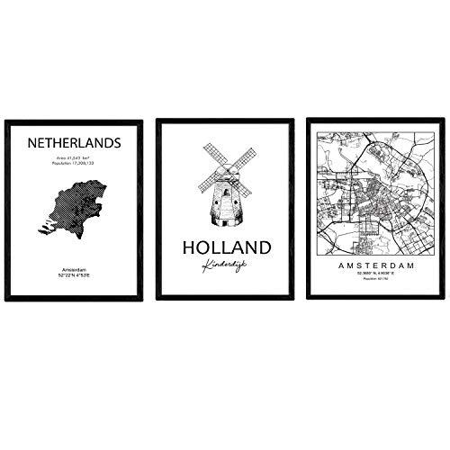 Pak posters en monumentenlanden. Amsterdam stadskaart, kaart van Nederland Kinderdijk monument. A3-formaat