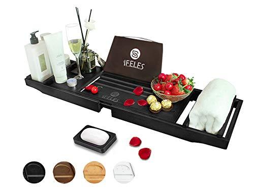 IFELES Bamboo Bathtub Caddy Tray for Tub with Bath Accessories,Bath Tray Table Caddy with Bath Book Stand,Wood Bath Caddy Tray in Bathroom (Black)