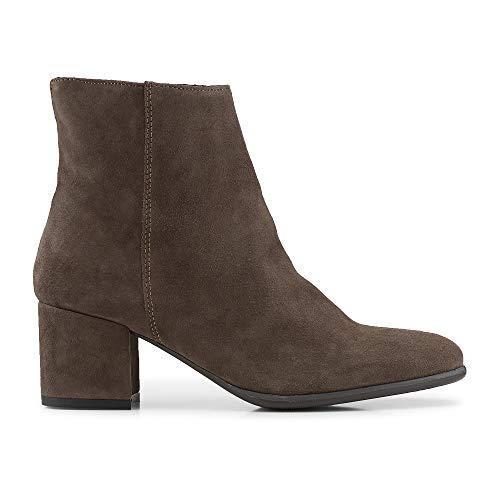 Cox Damen Klassik-Stiefelette aus Velours-Leder, Ankle-Boots in Hell-Grau mit rutschhemmender Gummi-Sohle Grau Rauleder 38