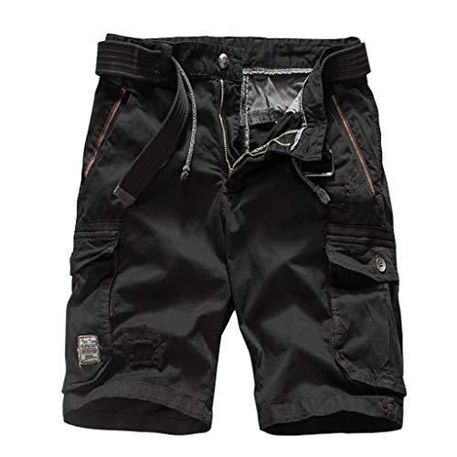 ZEFOTIM Casual Shorts for Men's Fashion Casual Cotton Pocket Solid Outdoors Work Trouser Cargo Short Pants - Black - 31