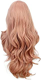 Bokeley Cosplay Wig Women's Fashion Wig Pink Synthetic Hair Long Wigs Wave Curly Wig+Cap 26 Inch (Pink)