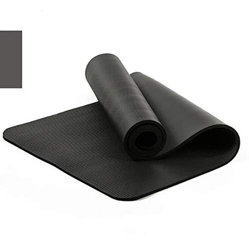 HJPA Alfombrillas Yoga,Alfombrilla Yoga Gruesa Nbr 10 Mm con Almohadilla Antideslizante Cuerda Libre Alfombrilla Pilates para Ejercicios Deportivos para El Hogar,Adecuada para Principiante Negro
