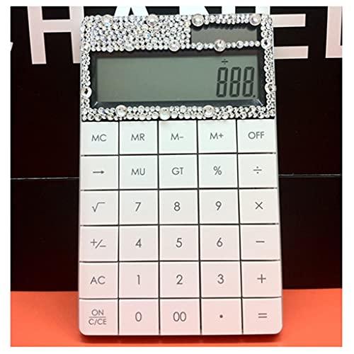 Calculadora Multifuncional Doble Fuente De Alimentación Diamond Office Big Botton Calculator para La Oficina De Contabilidad De La Escuela calculadora portatil (Color : White)