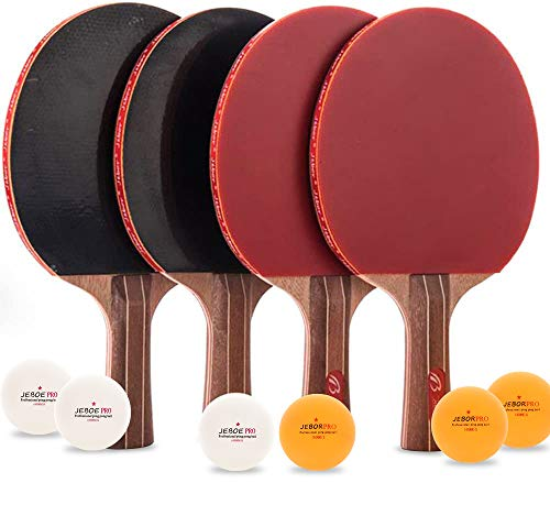 Jebor Professional Ping Pong Paddle & Table Tennis Set - Pack of 4 Premium Rackets and 6 Table Tennis Balls - Ideal for Games - 2 or 4 Players