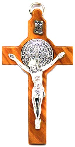 GTBITALY - Cruz de San Benito con medalla hecha de madera de olivo, incluye anilla, forma rectangular, 8 cm, ref. 10.001.90