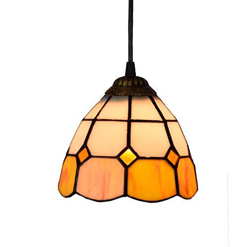 Candelabros de color - 6 'Tiffany Style Pequeña lámpara piñeda naranja vidrio blanco colgante lámpara colgante lámpara de colgante de lámpara para comedor para comedor isla de cocina dormitorio, E26 /