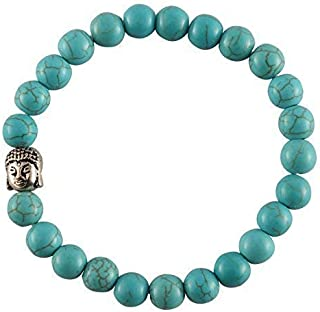 REBUY® Natural Firoza/Turquoise Crystal Reiki Healing Stone 8 mm Beads Charm Bracelet with Buddha for Men and Women