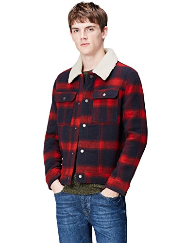 Amazon-Marke: find. Herren Karrierte Trucker-Jacke, Rot, S, Label: S