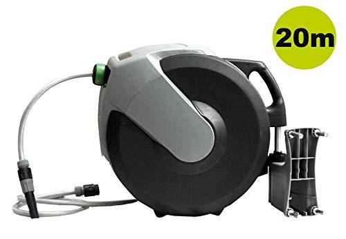 Yerd Automatische Schlauchtrommel Schlauch-Aufroller 20+1m 1/2 Zoll Schlauch, Gardena kompatible Anschlüsse (20 Meter)