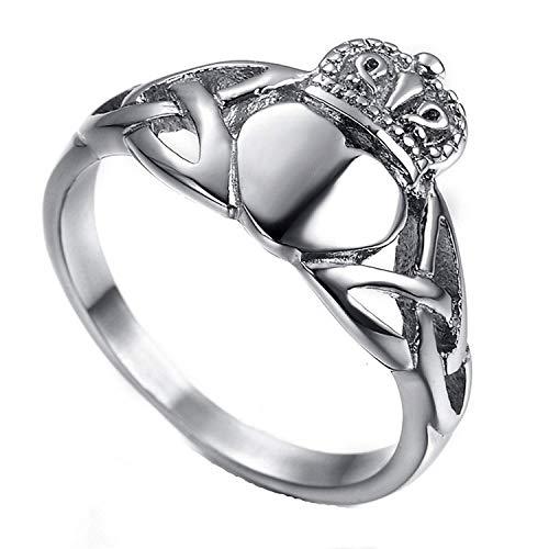 taPfPmFD Anillo de la Corona del corazón del Acero Inoxidable de los Hombres de Claddagh