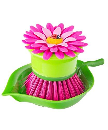 VIGAR Flower Power Originale Spülbürste mit Halter, Kunststoff, Rosa, 14,5 x 9,5 x 7,5 cm