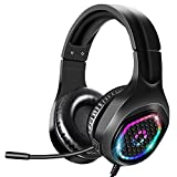 Stereo Gaming Headset, Suitable for PS4 PC Xbox One PS5 PS4 Controller, Headset with Noise Reduction Microphone and LED Light, Soft Storage Earmuffs for Laptop Nintendo NES Games