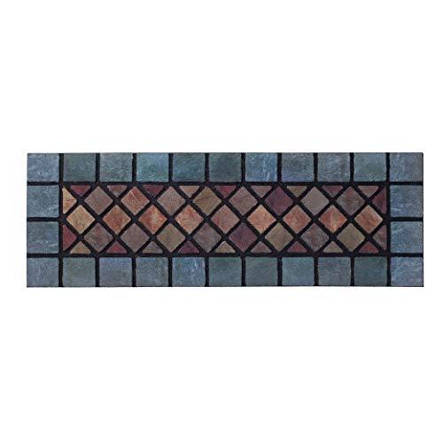 Nicoman Felpudo de Barrera de Paso Estrecho Respetuoso con el Medio Ambiente raspar y Absorbente para Puerta Interior/Exterior, 75 x 25 cm, Goma, Azulejos de pavimento (Borde Azul), Juego de 1