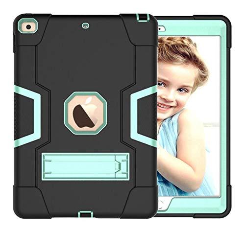 HNKHKJ Schwere Shochproof Silikon Rüstung Abdeckung für iPad 10 2 7. Gen A2198 A2200 A2232 10 2Tablet Funda Capa Fall für Kinder + Film + Pen-Black_Mint_G