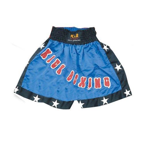 M.A.R International Ltd. Kick Boxing & Thai Boxeo Pantalones Cortos de Kickboxing, Ropa de Boxeo, Muay Thai K1 Gear Tela de poliéster Satinado, Color Azul y Negro