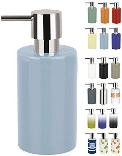Spirella Seifenspender Tube | mit Pumpe | Flüssigseifen-Spender | Porzellan | 300ml | Langliebig und Robust | Fog Hellblau