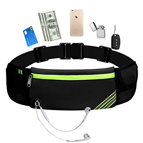 KAXYEW Running Pouch Belt Waist Pack Bag, Workout Gym Fanny Pack, Bounce Free Jogging Pocket Belt - Travelling Money Cell Phone Holder for Running Accessories for Phone
