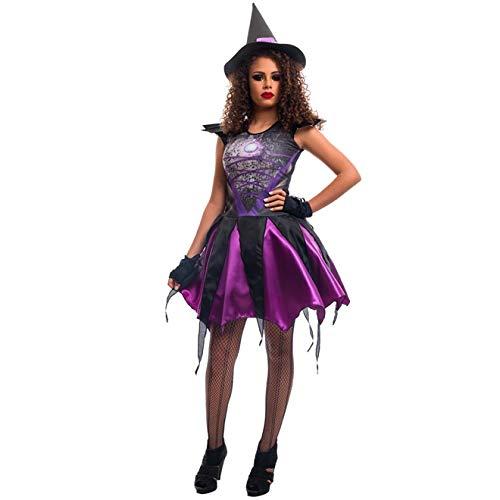 Fantasia de Bruxa Angeline Roxa Halloween Adulto P 36-38