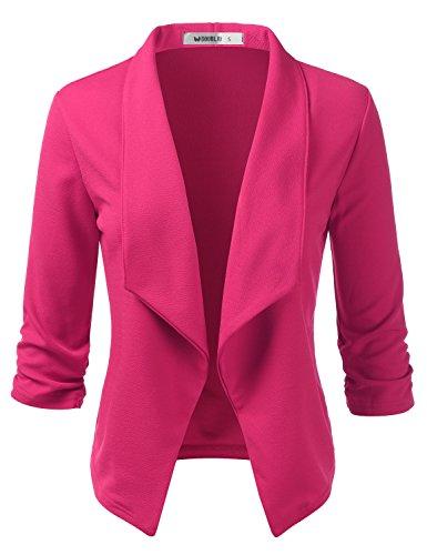 Doublju Women's Classic Draped Open Front Lightweight Blazer with Plus Size Fuchsia Medium