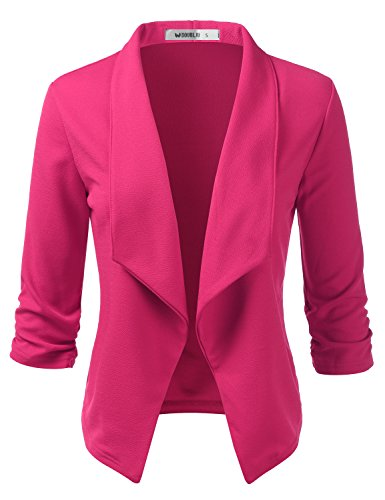 Doublju Womens Casual Work 3/4 Sleeve Open Front Blazer Jacket with Plus Size Fuchsia Medium