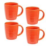 Orange Porcelain Mugs, Set of 4 | 14 Ounce Cups with Large Handles for Coffee, Tea, Hot Cocoa | Hand Stained Assortment | Microwave and Dishwasher Safe