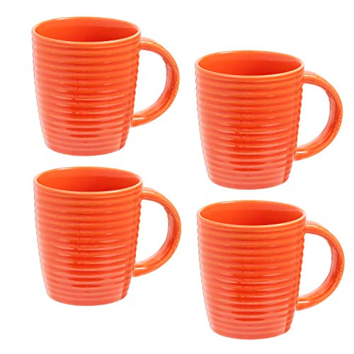 Large Coffee Mugs Set of 4   14 Ounce Porcelain Cups with Strong Handles for Tea, Hot Cocoa  ...